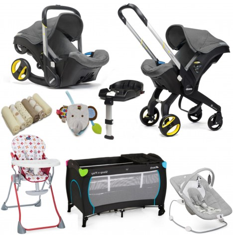 Doona Infant Car Seat / Stroller (With Isofix Base & Accessories) Everything You Need Bundle - Storm