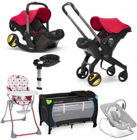 Doona Infant Car Seat / Stroller (With Isofix Base) Everything You Need Bundle - Flame Red