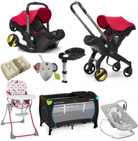 Doona Infant Car Seat / Stroller (With Isofix Base & Accessories) Everything You Need Bundle - Flame Red