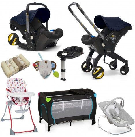 Doona Infant Car Seat / Stroller (With Isofix Base & Accessories) Everything You Need Bundle - Royal Blue