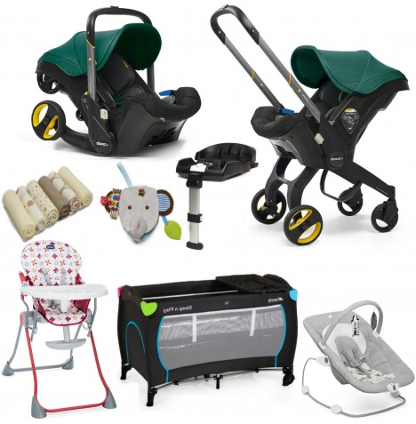 Doona Infant Car Seat / Stroller (With Isofix Base & Accessories) Everything You Need Bundle - Racing Green