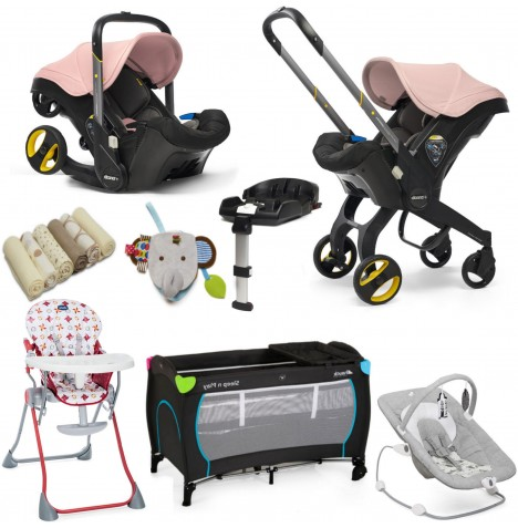 Doona Infant Car Seat / Stroller (With Isofix Base & Accessories) Everything You Need Bundle - Blush Pink