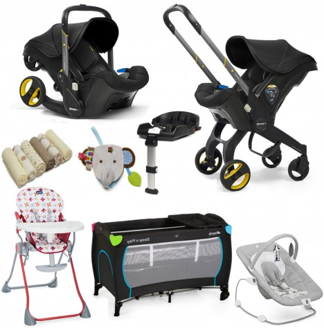 Doona Infant Car Seat / Stroller (With Isofix Base & Accessories) Everything You Need Bundle - Nitro Black