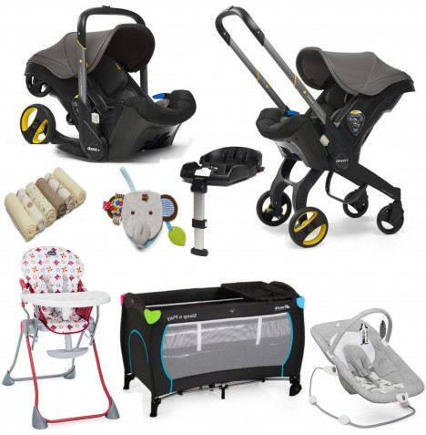 Doona Infant Car Seat / Stroller (With Isofix Base & Accessories) Everything You Need Bundle - Greyhound Grey
