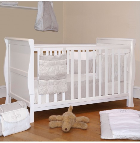 4Baby 3 in 1 Sleigh Cot Bed With Deluxe Foam Mattress - White..