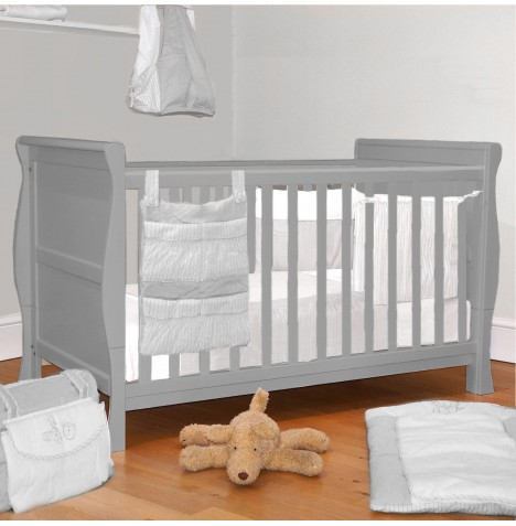 4Baby 3 in 1 Sleigh Cot Bed With Deluxe Foam Mattress - Grey..