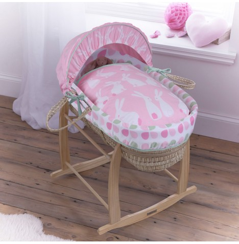 Clair De Lune Palm Moses Basket & Deluxe Rocking Stand - Rabbits Pink