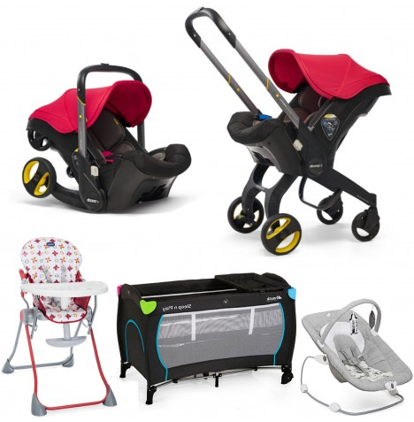 Doona Infant Car Seat / Stroller Everything You Need Bundle - Flame Red