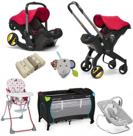 Doona Infant Car Seat / Stroller & Accessories Everything You Need Bundle - Flame Red