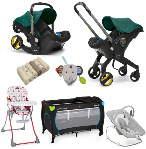 Doona Infant Car Seat / Stroller & Accessories Everything You Need Bundle - Racing Green