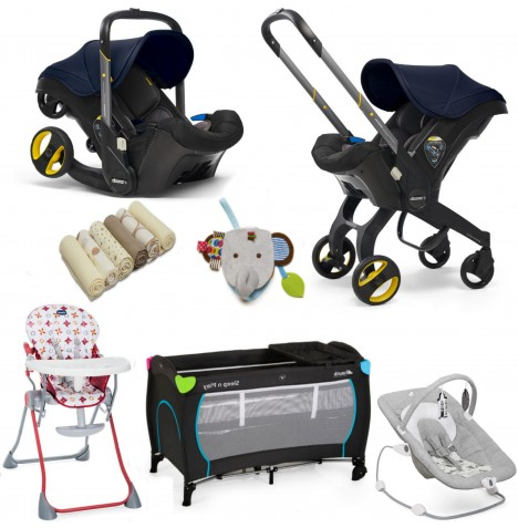 Doona Infant Car Seat / Stroller & Accessories Everything You Need Bundle - Royal Blue