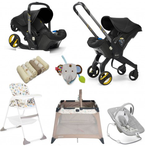 Doona Infant Car Seat / Stroller & Accessories Everything You Need Bundle - Nitro Black