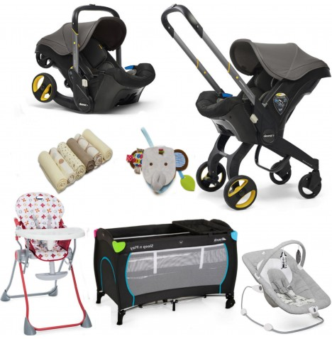 Doona Infant Car Seat / Stroller & Accessories Everything You Need Bundle - Greyhound