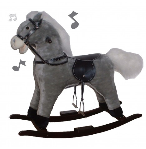 Cuddles Collection Rocking Horse - Grey