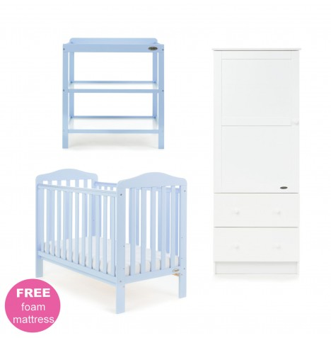 Obaby Ludlow 3 Piece Nursery Room Set - BonBon Blue