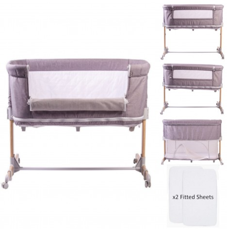 Red Kite Nebula Nursery Side Sleeping Crib Bed / Playpen With 2 Fitted Sheets - Grey / White