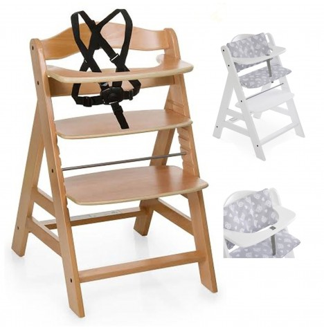 Hauck Alpha+ Grow With Your Child Wooden Highchair + Deluxe Pad - Natural / Teddy Grey