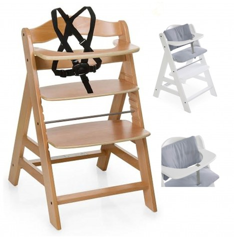 Hauck Alpha+ Grow With Your Child Wooden Highchair + Deluxe Pad - Natural / Stretch Grey