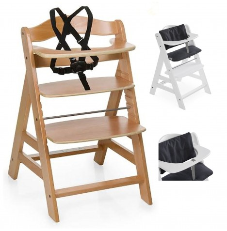 Hauck Alpha+ Grow With Your Child Wooden Highchair + Deluxe Pad - Natural / Melange Charcoal