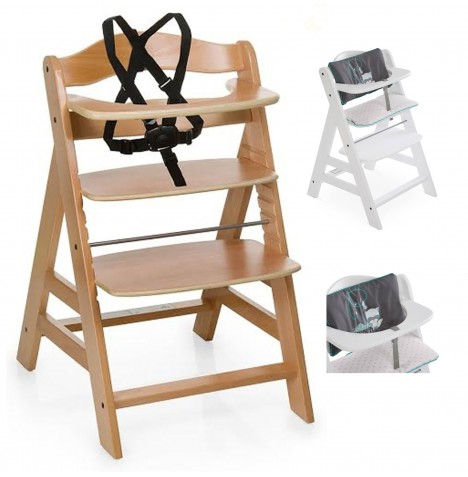 Hauck Alpha+ Grow With Your Child Wooden Highchair + Deluxe Pad - Natural / Forest Fun