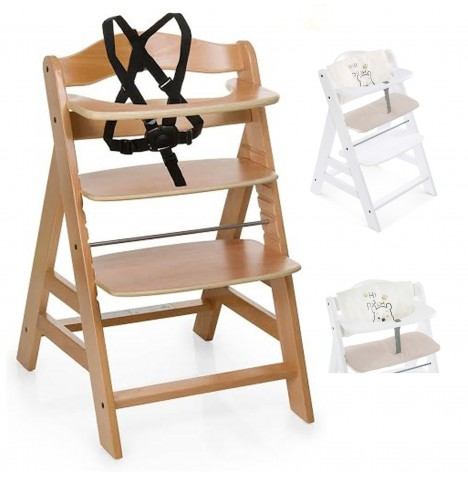 Hauck Alpha+ Grow With Your Child Wooden Highchair + Deluxe Pad - Natural / Pooh Cuddles