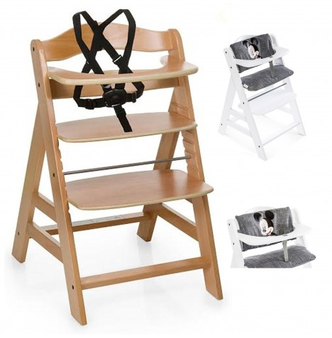 Hauck Alpha+ Grow With Your Child Wooden Highchair + Deluxe Pad - Natural / Mickey Grey
