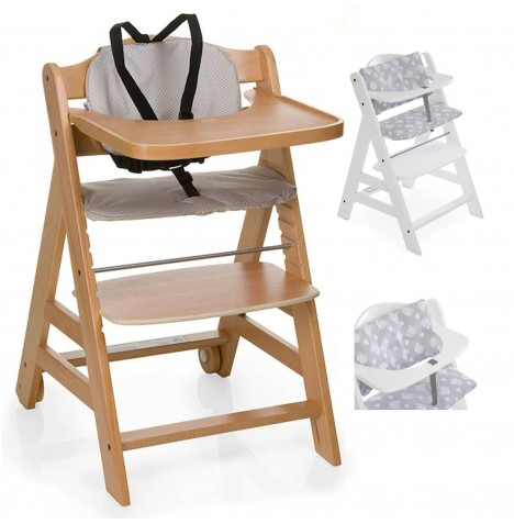 Hauck Beta+ Wooden Highchair + Deluxe Pad - Natural / Teddy Grey