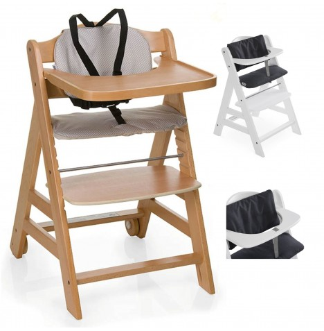 Hauck Beta+ Wooden Highchair + Deluxe Pad - Natural / Melange Charcoal