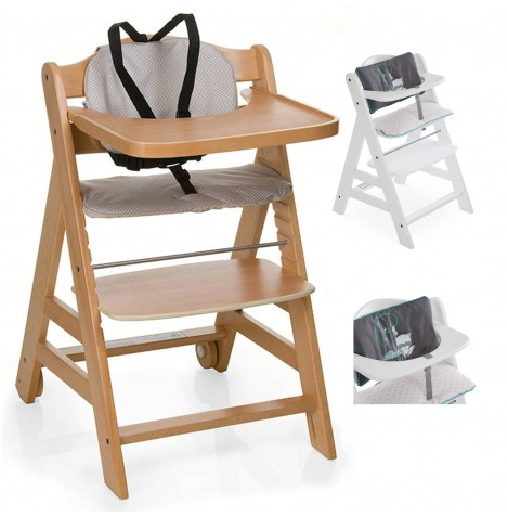 Hauck Beta+ Wooden Highchair + Deluxe Pad - Natural / Forest Fun