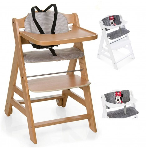 Hauck Beta+ Wooden Highchair + Deluxe Pad - Natural / Minnie Grey