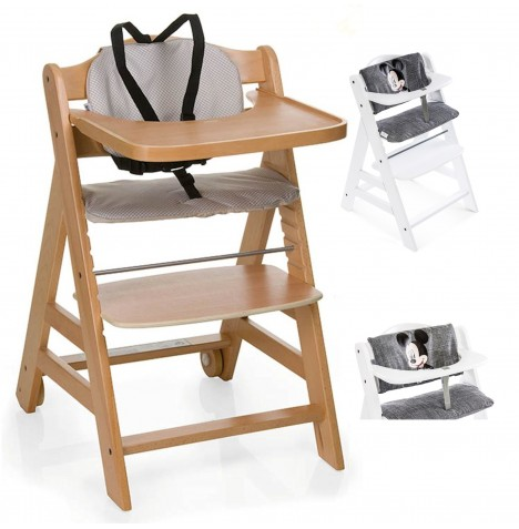 Hauck Beta+ Wooden Highchair + Deluxe Pad - Natural / Mickey Grey