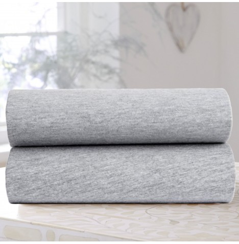 Clair De Lune (2 Pack) Moses Basket Fitted Cotton Jersey Interlock Sheets - Grey Marl