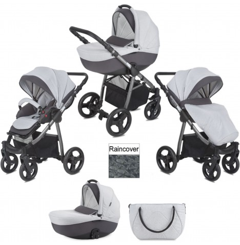 Mini Uno Stride 3 In 1 Pram / Pushchair with Car Seat Apaptors - Grey Melange