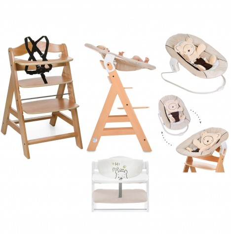 Hauck Alpha+ 4 in 1 Highchair / Lowchair / Adult Chair with Bouncer & Highchair Pads - Natural / Pooh / Beige