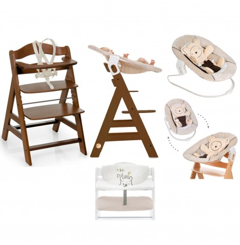 Hauck Alpha+ 4 in 1 Highchair / Lowchair / Adult Chair with Bouncer & Highchair Pads - Walnut / Hearts Beige / Pooh Cuddles