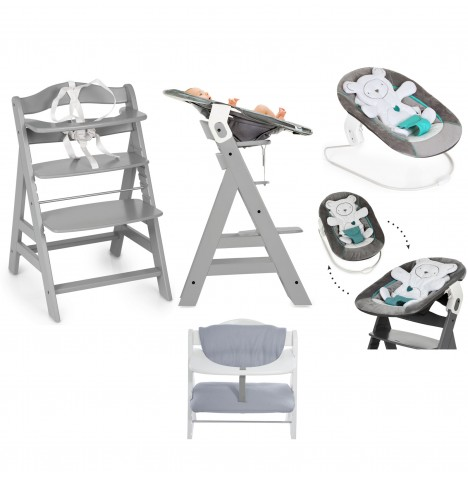 Hauck Alpha+ 4 in 1 Highchair / Lowchair / Adult Chair with Bouncer & Highchair Pads - Grey / Silver / Grey