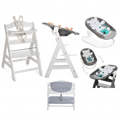 Hauck Alpha+ 4 in 1 Highchair / Lowchair / Adult Chair with Bouncer & Highchair Pads - White / Hearts Silver / Stretch Grey