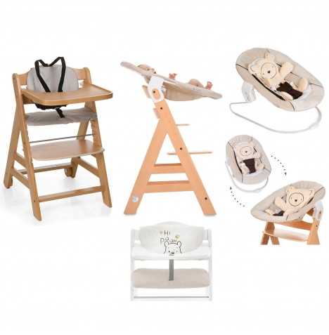 Hauck Beta+ 4 in 1 Highchair / Lowchair / Adult Chair with Bouncer & Highchair Pads - Natural / Hearts Beige / Pooh Cuddles