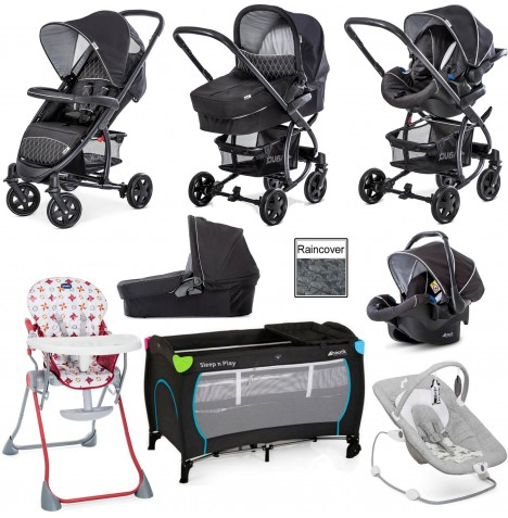 Hauck Malibu 4 Everything You Need Travel System Bundle - Black / Silver