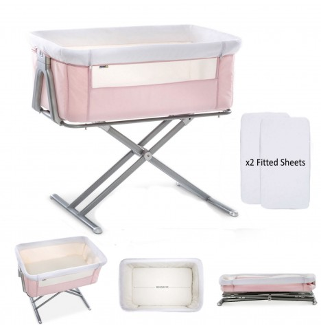 Hauck Face To Me Bedside Crib With x2 Fitted Sheets - Pink