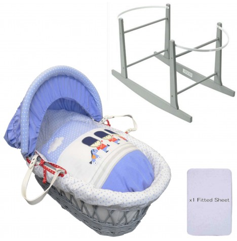 4Baby Deluxe Padded Grey Wicker Moses Basket & Rocking Stand - Night Night Soldier