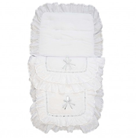 4baby Luxury Frilly B.A Pushchair Footmuff - White / White