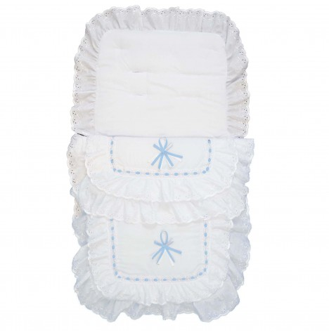 4baby Luxury Frilly B.A Pushchair Footmuff - White / Blue