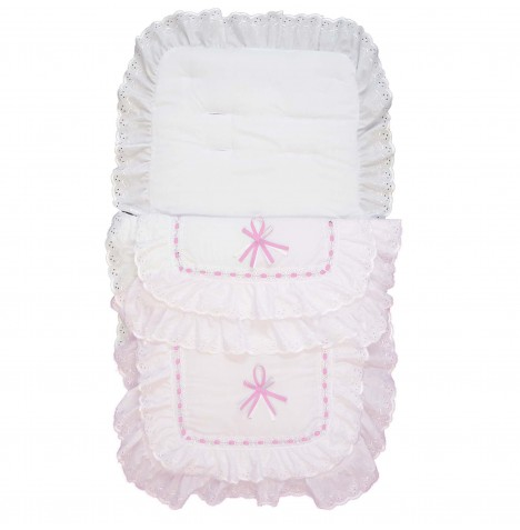 4baby Luxury Frilly B.A Pushchair Footmuff - White / Pink