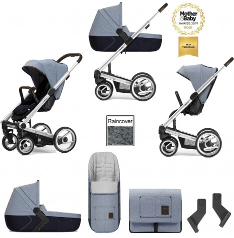 Mutsy I2 Farmer (Silver Chassis) 3in1 Pushchair With Carrycot & Accessories - Denim Sky Blue