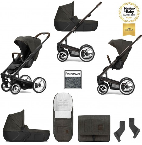 Mutsy I2 Farmer (Black Brown Chassis) 3in1 Pushchair With Carrycot & Accessories - Forest