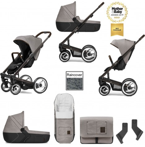 Mutsy I2 Farmer (Black Brown Chassis) 3in1 Pushchair With Carrycot & Accessories - Sand
