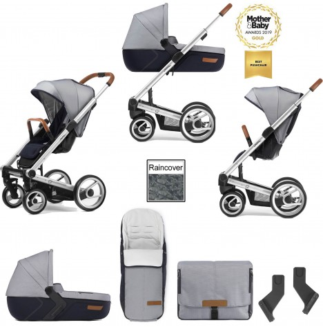 Mutsy I2 Urban Nomad (Silver Chassis) 3in1 Pushchair With Carrycot & Accessories - White Blue