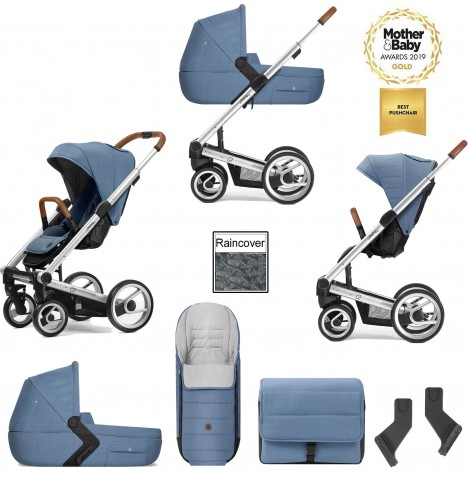 Mutsy I2 Heritage (Silver Chassis) 3in1 Pushchair With Carrycot & Accessories - Heritage Blue