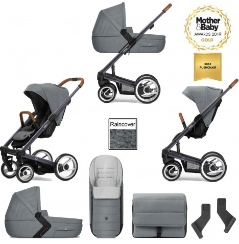 Mutsy I2 Heritage (Dark Grey Chassis) 3in1 Pushchair With Carrycot & Accessories - Heritage Concrete